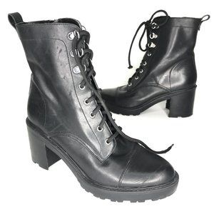 Marc Fisher Lanie Combat Moto Boots Black Leather